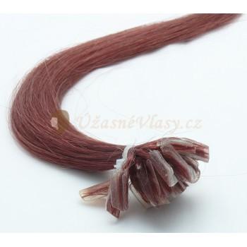 Středně rudo-hnědé vlasy k prodloužení - keratin, 50 cm, 20 pramenů (030)