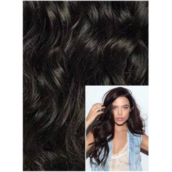 VLNITÉ DELUXE Clip in 50cm 200g REMY lidské vlasy - PŘÍRODNĚ ČERNÉ
