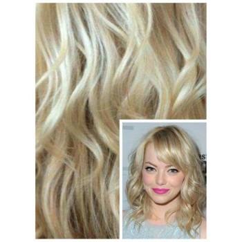 VLNITÉ DELUXE Clip in 50cm 200g REMY lidské vlasy - NEJSVĚTLEJŠÍ BLOND