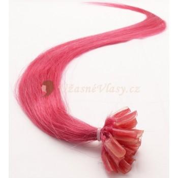Vášnivě růžové vlasy k prodloužení - keratin, 50 cm, 20 pramenů (HOTPINK)