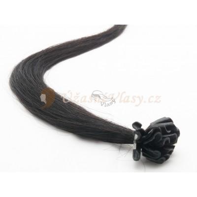 Uhlově černé vlasy k prodloužení - keratin, 50 cm, 25 pramenů (001)