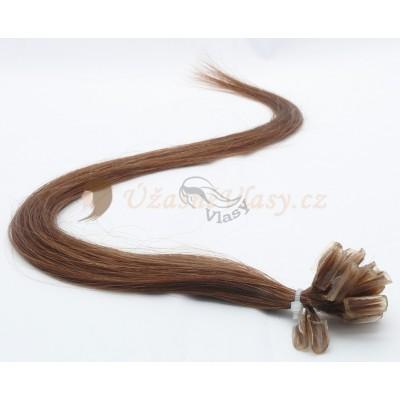 Hnědé vlasy k prodloužení - keratin, 50 cm, 25 pramenů (006)