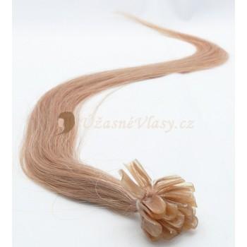 Popelavě blond vlasy k prodloužení - keratin, 50 cm, 20 pramenů (016)