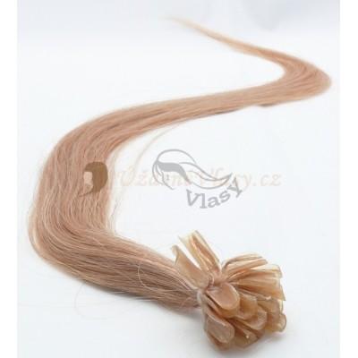 Popelavě blond vlasy k prodloužení - keratin, 50 cm, 25 pramenů (016)
