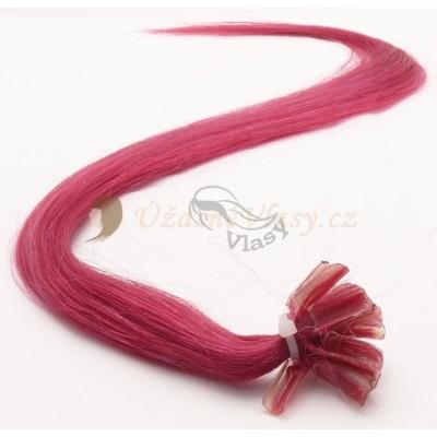 Fuchsiové vlasy k prodloužení - keratin, 50 cm, 25 pramenů (FOXIA)