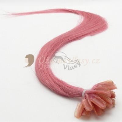 Růžové vlasy k prodloužení - keratin, 50 cm, 25 pramenů (PINK)