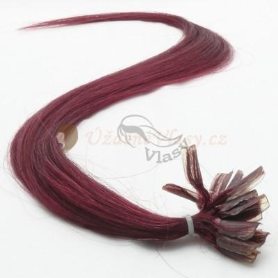 Burgundské vlasy - keratin, 50 cm, 25 pramenů (BG)