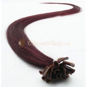 Fialovo-hnědé vlasy k prodloužení - keratin, 50 cm, 20 pramenů (099J)
