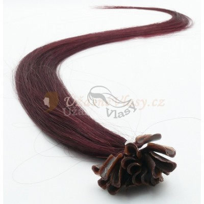 Fialovo-hnědé vlasy - keratin, 50 cm, 25 pramenů (099J)