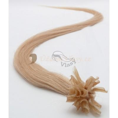 Tmavé blond vlasy k prodloužení - keratin, 50 cm, 25 pramenů (027)