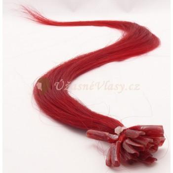 Červené vlasy k prodloužení - keratin, 50 cm, 20 pramenů (RED)