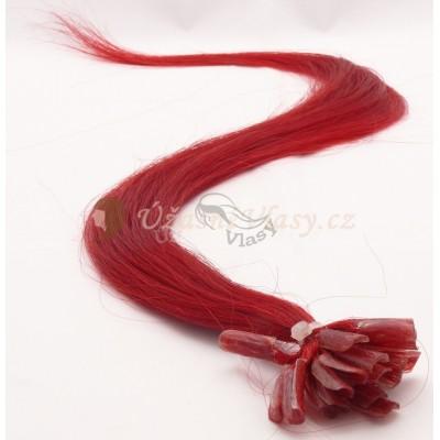 Červené vlasy k prodloužení - keratin, 50 cm, 25 pramenů (RED)