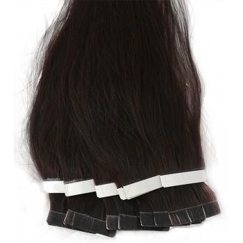 Nejtmavší hnědé vlasy k prodloužení - Tape-in REMY proužky, 50 cm (002), 20 ks
