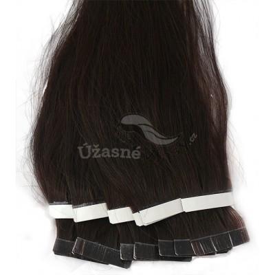 Tmavé hnědé vlasy k prodloužení - Tape in REMY proužky, 50 cm (002), 20 ks