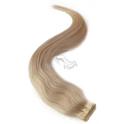 Platinové blond vlasy k prodloužení - Tape in REMY proužky, 50 cm (060), 20 ks
