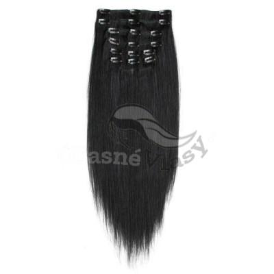 Uhlově černé vlasy - Clip in set, 10 ks, 50 cm, REMY, 160g (001)