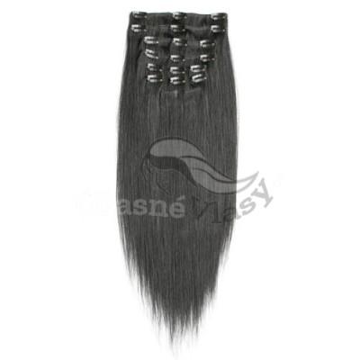 Přírodně černé vlasy - Clip in set, 10 ks, 50 cm, REMY, 160g (001B)