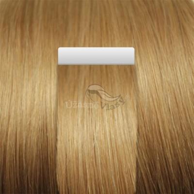 Tmavé blond vlasy k prodloužení - Tape in REMY proužky, 50 cm (027), 20 ks