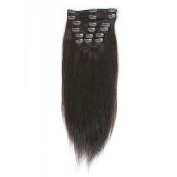 Nejtmavší hnědé vlasy k prodloužení - Clip-in set, 8 ks, 50 cm