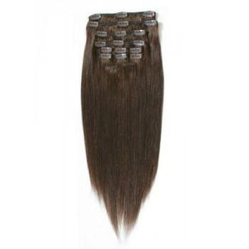 Středně hnědé vlasy k prodloužení - Clip-in set, 8 ks, 50 cm