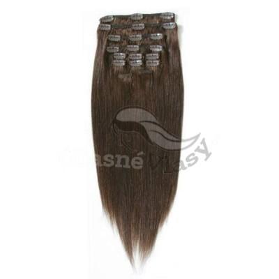 Středně hnědé vlasy - Clip in set, 10 ks, 50 cm, REMY, 160g (004)