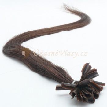 Přírodně černé vlasy k prodloužení - keratin, 50 cm, 20 pramenů (001B)
