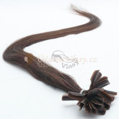 Přírodně černé vlasy k prodloužení - keratin, 60 cm, 25 pramenů (001B)