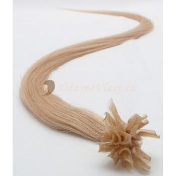Tmavé blond vlasy k prodloužení - keratin, 50 cm, 20 pramenů (027)