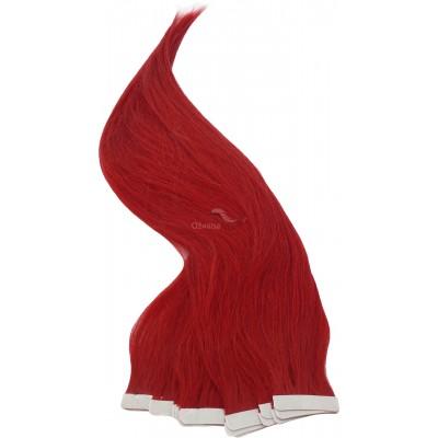 Červené vlasy k prodloužení - Tape in REMY proužky, 50 cm (RED), 20 ks