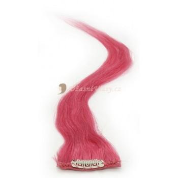 Vášnivě růžové lidské vlasy k prodloužení - Clip-in proužky, 50 cm (HOTPINK)