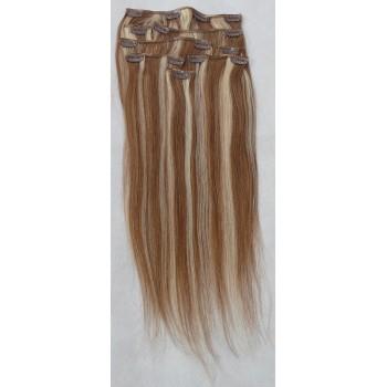 Melírované (světle hnědé/nejsvětlejší blond) vlasy - Clip in set, 8 ks, 50 cm (012/613)