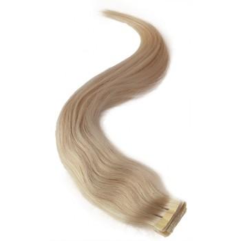 Platinové blond vlasy k prodloužení - Tape-in REMY proužky, 50 cm (060), 20 ks