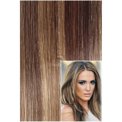 Clip in 40cm 100g REMY lidské vlasy - TMAVÝ MELÍR