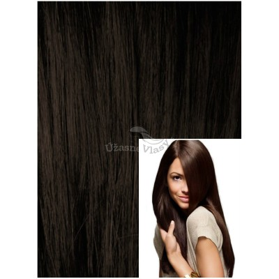 Clip in 40cm 70g  REMY lidské vlasy - TMAVĚ HNĚDÉ