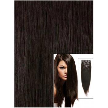 Clip in 60cm 120g  REMY lidské vlasy -  PŘÍRODNÍ ČERNÉ