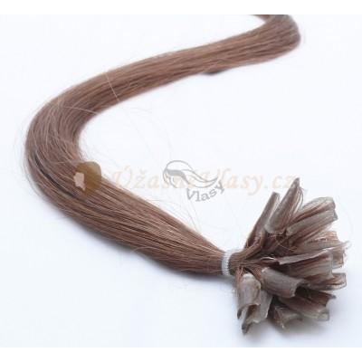 Kaštanové vlasy k prodloužení - keratin, 50 cm, 25 pramenů (008)