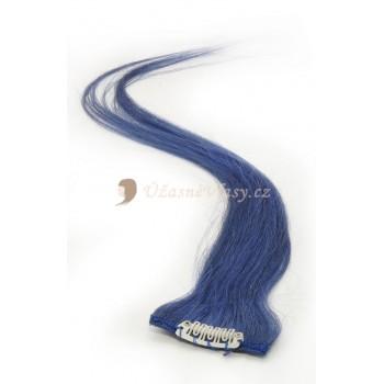 Modré lidské vlasy k prodloužení - Clip-in proužky, 50 cm (BLUE)