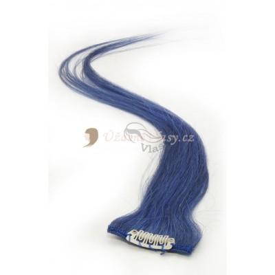 Modré lidské vlasy k prodloužení - Clip in prameny, 50 cm (BLUE)
