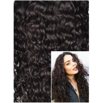 Clip in KUDRNATÉ 50cm 100g  REMY lidské vlasy - TMAVĚ HNĚDÉ