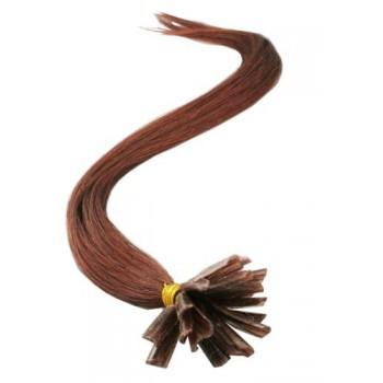 Mahagonové vlasy k prodloužení - keratin, 50 cm, 20 pramenů