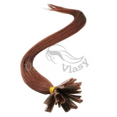 Tmavě rudo-hnědé vlasy s keratinem, 50 cm, 25 pramenů (033)