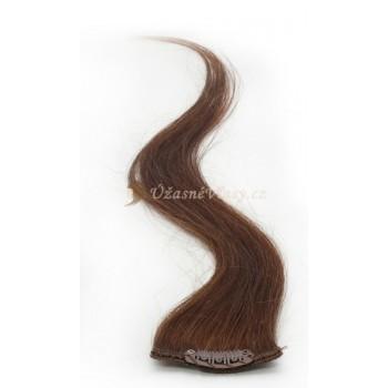 Kaštanové vlasy k prodloužení - Clip-in proužky, 50 cm (008)