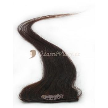 Středně hnědé vlasy k prodloužení - Clip-in proužky, 50 cm (004)