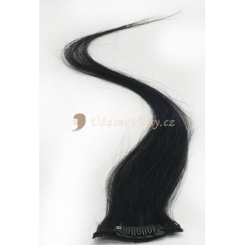 Uhlově černé vlasy k prodloužení - Clip-in proužky, 50 cm (001)