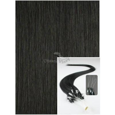 Micro ring vlasy, 60 cm 0,7g/pr., 50 pramenů - ČERNÉ