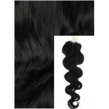 Vlnité micro ring vlasy, 50 cm 0,5g/pr., 50 pramenů - černé