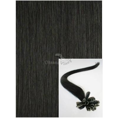 Vlasy na keratin, 40 cm 0,5g/pr., 50 pramenů - ČERNÉ