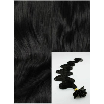 Vlnité vlasy na keratin, 60 cm 0,5g/pr., 50 pramenů - černá
