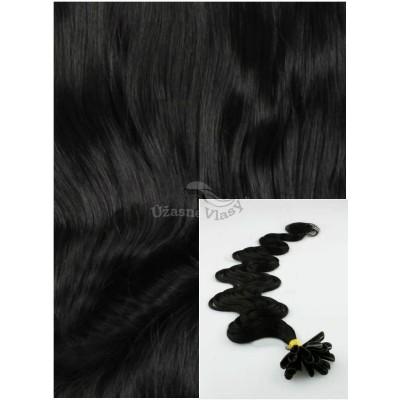 Vlnité vlasy na keratin, 60 cm 0,5g/pr., 50 pramenů - ČERNÉ