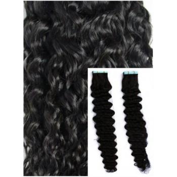 Kudrnaté vlasy k prodloužení tape in, 60 cm, 40 ks - černá